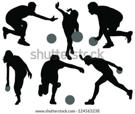 bowling people silhouettes-vector