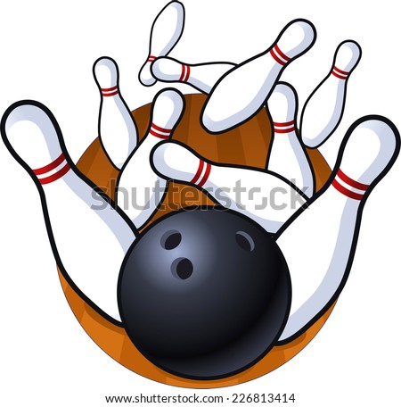 Bowling perfect strike cartoon vector illustration - stock vector