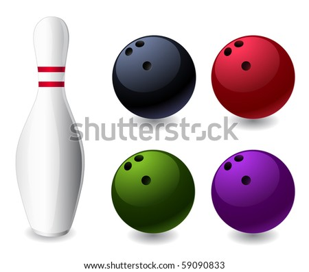 bowling pin and colored balls - stock vector