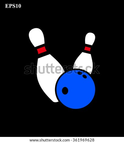 Bowling pins and ball on black background vector illustration