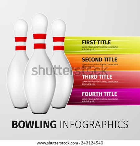 Bowling pins isolated on white background, excellent vector illustration, EPS 10 - stock vector