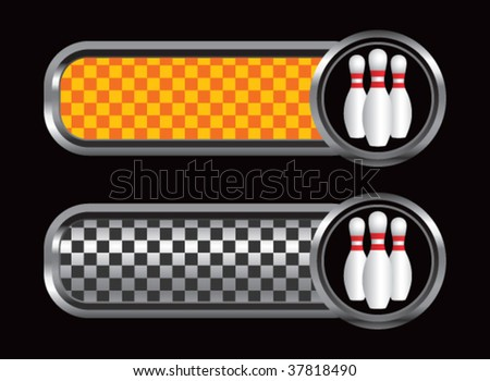 bowling pins on diamond textured banners - stock vector