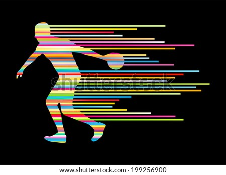 Bowling player silhouettes vector background concept made of stripes - stock vector