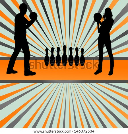 Bowling player silhouettes vector burst background - stock vector