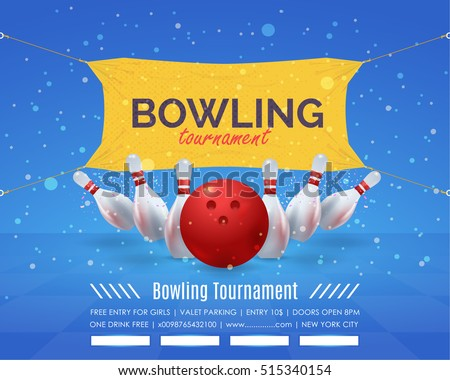 Bowling Poster Vector Background. Bowl Event Info Postcard Design and Sports Ad Web Banner or Horizontal Card Template.Realistic Ball and Tenpins Illustration.