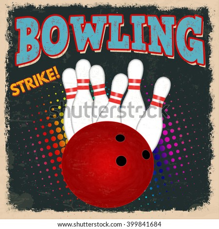 Bowling retro poster design template on dark background, vector illustration