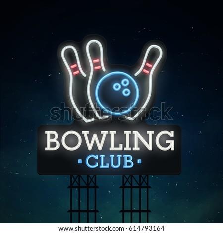 Bowling Emblem Stock Royalty Free & Vectors #0: stock vector bowling road sing city sign neon logo emblem bowling neon sign bright signboard light banner