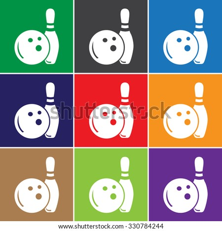 Bowling sign icon, vector illustration. Bowling symbol. Flat icon. Flat design style for web and mobile.