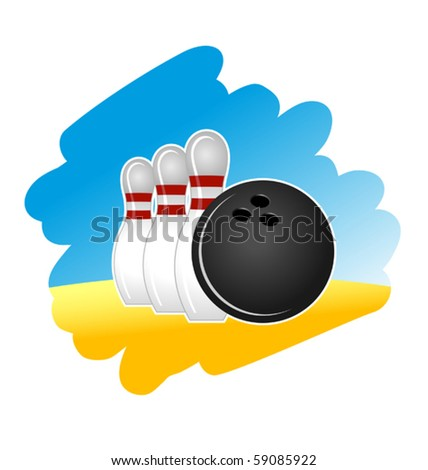 Bowling symbol on white background for design - also as emblem. Jpeg version also available in gallery - stock vector