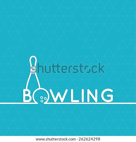 Bowling. Vector abstract background with a pattern of triangles. Pin and ball. The concept of games, entertainment, hobbies and leisure club.  - stock vector