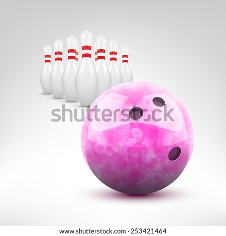 Bowling vector illustration. Pink bowling ball and pins isolated. - stock vector