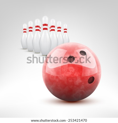 Bowling vector illustration. Red bowling ball and pins isolated. - stock vector