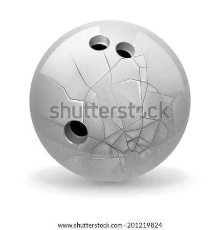 Bowling. White broken ball on the light background. - stock vector