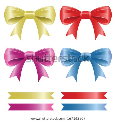 Bows and Ribbons Set. Set of bows and ribbons in four colors. Easy to edit vector illustration.