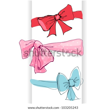 Bows with ribbons - hand drawn vector illustration isolated on white.
