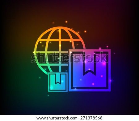 Box and global design on rainbow concept background,clean vector - stock vector