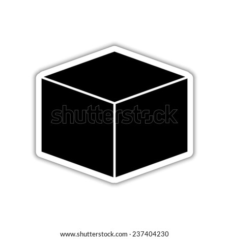 box   - black vector icon with shadow
