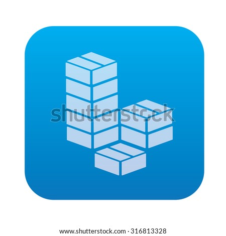 Box cargo icon on blue background,clean vector - stock vector
