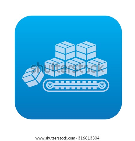 Box,cargo,industry icon on blue background,clean vector - stock vector