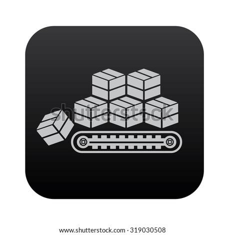 Box,cargo on black button blackboard,vector - stock vector