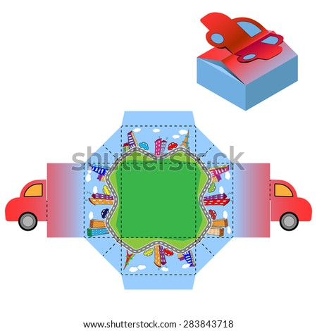 Box design, die-stamping, folding, ready no glue City Landscape Kid Car Joyful Happy Travel Trip  - stock vector