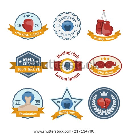 Box fight sport camp club championship emblems set isolated vector illustration - stock vector