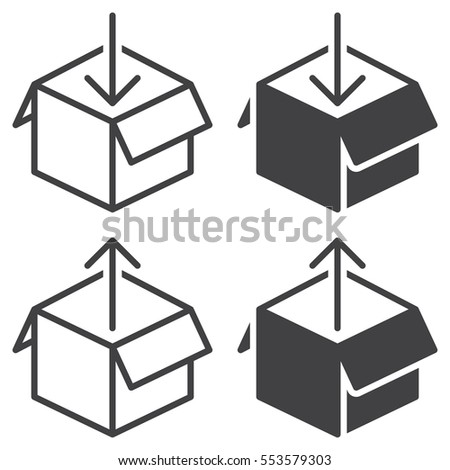 Box Out Line Icon Outline Filled Stock Photo Photo Vector