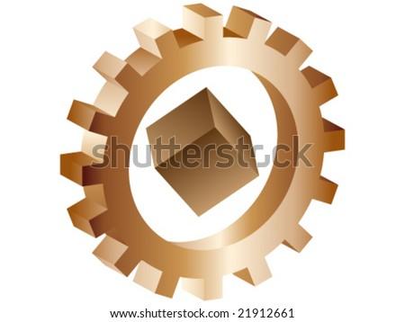 Box inside of gear concept - stock vector