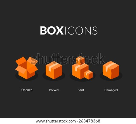 Box logo template, flat icons vector set - stock vector