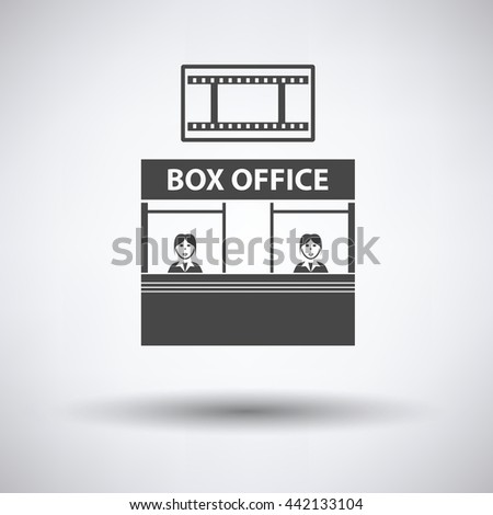 Box office icon on gray background, round shadow. Vector illustration. - stock vector