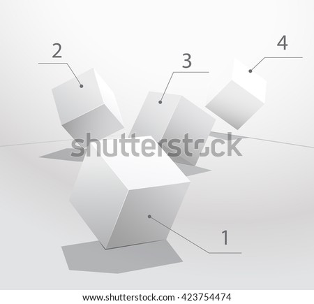 Box on a white background. Rolling dice. Plaster geometric shapes. Leadership concept. Set of white box.  - stock vector