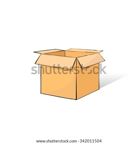 Box Open Hand Draw Sketch Color Icon Vector Illustration - stock vector