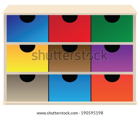 Box organizer for small parts with colored drawers. Vector illustration. - stock vector