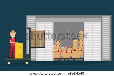 Box package man male avatar delivery shipping icon. Colorfull and flat illustration. Vector graphic