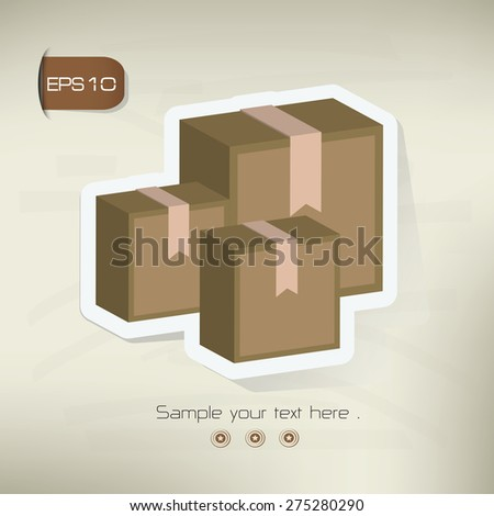 Box sticker design on old background,vector - stock vector