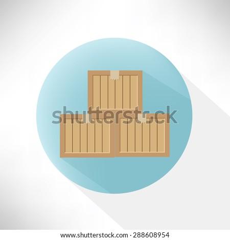 Box symbol design,flat button,clean vector - stock vector
