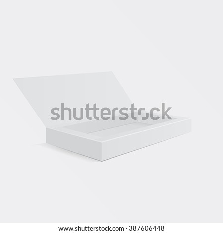 Box template. Open box package for your design. Box mock-up. Box blank. Box sale. Box gift. Box package. Box software. Box product. Box brand. Vector illustration, eps 10 - stock vector
