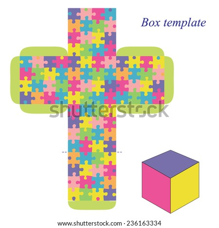 Box template with puzzle pattern, vector - stock vector