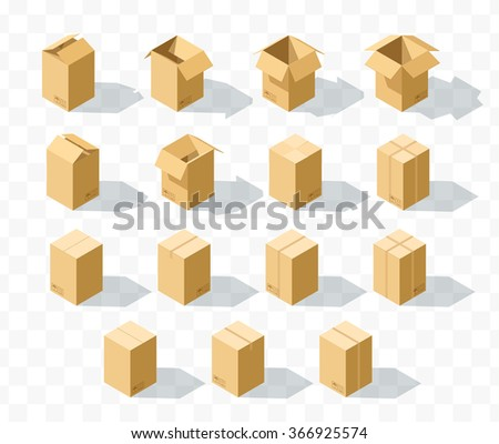 Box templates  Set of 15 realistic isometric cardboard boxes with transparent shadow.