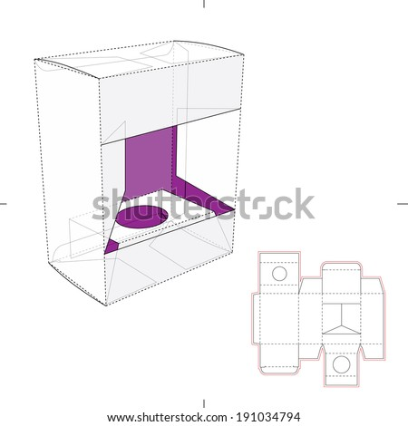 Box Window for Product Display and Die cut Pattern - stock vector