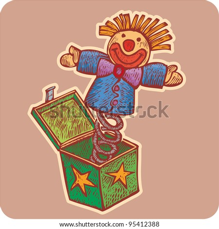 Box with a Clown hang to a spring. Classic surprise toy in engrave style - stock vector