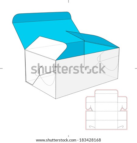 Box with Auto-lock Flip-flops and Die-cut Pattern - stock vector