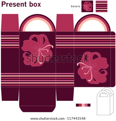 Box with flowers - stock vector