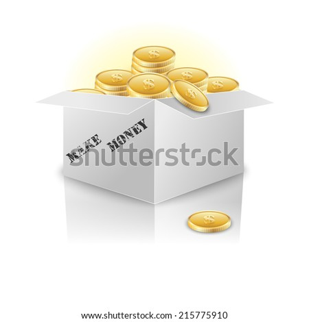 Box with gold coins. Concept. Vector illustration. - stock vector