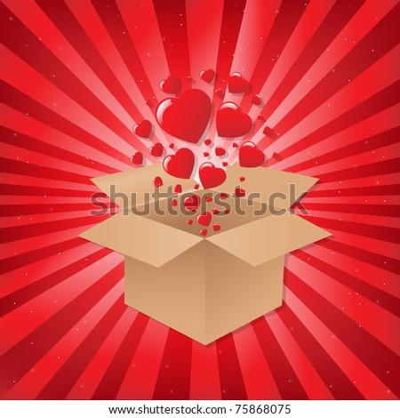 Box With Hearts On Sunburst Background, Vector Illustration - stock vector