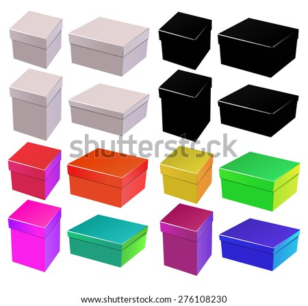 box with lid set, colored and white silhouette - stock vector