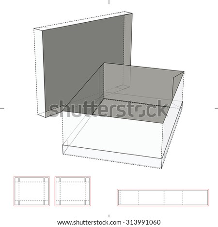 Box with Rim top and bottom and Die-cut Layout - stock vector