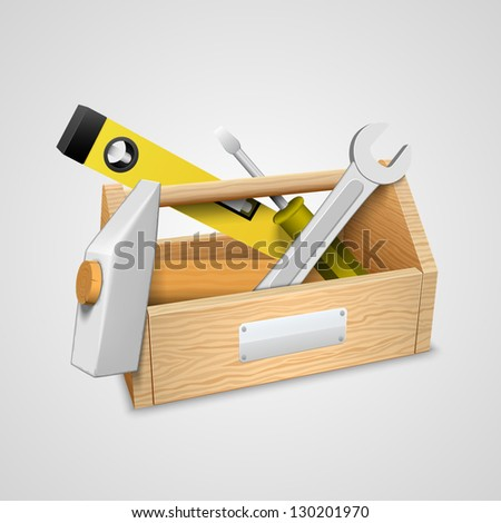 box with tools. - stock vector