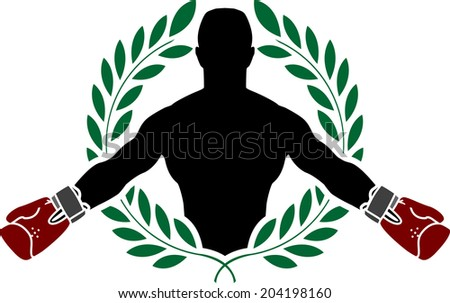 boxer and laurel wreath. vector illustration - stock vector