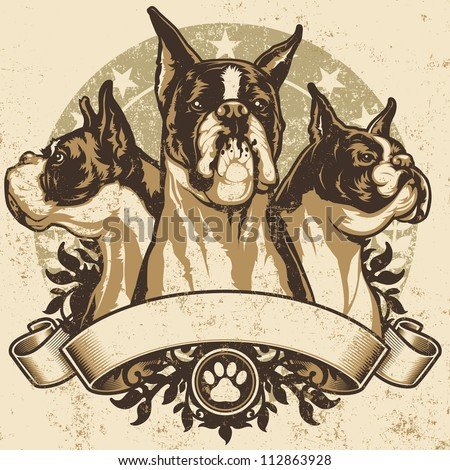 Boxer Crest Design. Vector illustration of three purebred boxer dogs (front view, profile view and 3/4 view) sitting proudly over a grunge banner and floral design elements. - stock vector